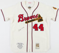 Baseball Collectibles:Uniforms, Hank Aaron Signed Milwaukee Braves Flannel Jersey....