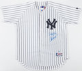 Baseball Collectibles:Uniforms, Derek Jeter and Alex Rodriguez Multi Signed New York Yankees Jersey....