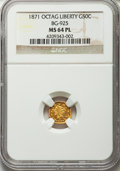 California Fractional Gold , 1871 50C Liberty Octagonal 50 Cents, BG-925, High R.4, MS64Prooflike NGC....
