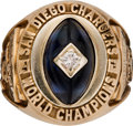 Football Collectibles:Others, 1963 San Diego Chargers AFL Championship Ring Presented to Head Coach Sid Gillman....