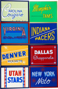 Basketball Collectibles:Others, 1970's ABA Team Signs from Kentucky Colonels Visitor Locker RoomLot of 8....