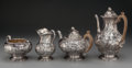 Silver Holloware, British:Holloware, A Married Victorian Silver Coffee Service Including work by Hennelland Barnard, London, England, circa 1851-1876. Marks: (l... (Total:4 Items)