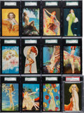 "Non-Sport Cards:Sets, 1940's Mutoscope ""All-American Girls"" Complete Set (32+2Variations) - With All ""Large Letters"" Variants. ..."