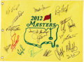 Golf Collectibles:Autographs, Masters Winners Multi Signed Flag....