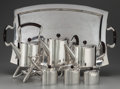 Silver Holloware, Mexican:Holloware, A Seven Piece Mexican Silver and Rosewood Tea and Coffee Service, Taxco, Mexico, circa 1958. Marks: (Eagle, 25), STERLING,... (Total: 9 Items)