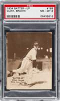 Baseball Cards:Singles (1930-1939), 1934-36 R318 Batter-Up Clint. Brown #189 PSA NM-MT 8 - Pop Two,None Higher....