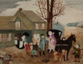 Fine Art - Painting, American:Modern  (1900 1949)  , Grandma (Ann Robertson) Moses (American, 1860-1961). Home forThanksgiving. Oil on canvasboard. 12 x 16 inches (30.5 x 4...