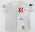 Baseball Collectibles:Uniforms, Ernie Banks Signed Chicago Cubs Flannel Jersey....