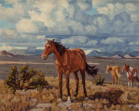 Fred Darge (American, 1900-1978) Pack Horse Oil on canvasboard 8 x 10 inches (20.3 x 25.4 cm)
