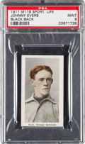 Baseball Cards:Singles (Pre-1930), 1910-11 M116 Sporting Life Johnny Evers, Black Back PSA Mint 9 -Pop 1, None Higher....