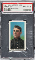 Baseball Cards:Singles (Pre-1930), 1910-11 M116 Sporting Life Napoleon Lajoie, Blue Background PSANM-MT 8 - Pop Three, One Higher. ...