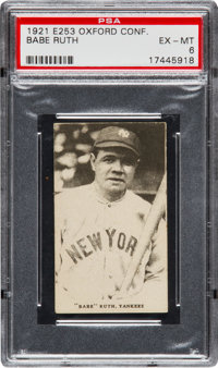 1921 E253 Oxford Confectionary Babe Ruth PSA EX-MT 6 - Pop One, None Higher!