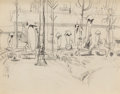 Fine Art - Work on Paper:Drawing, Charles Ephraim Burchfield (American, 1893-1967). FurledTents and A Letter Home (two works), 1918. Pencil onpaper,... (Total: 2 Items)
