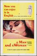 """Movie Posters:Foreign, A Man and a Woman (Allied Artists, 1966,1968). One Sheet (27"""" X 41"""") Academy Award Winner Style B & Photos (2) (8"""" X 10"""", 8""""... (Total: 3 Items)"""