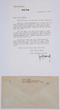 Autographs:Authors, [Thomas Mann]. Fritz Lang. Typed Letter Signed. November 14, 1971....