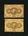 Fractional Currency:First Issue, Fr. 1230 5c First Issue. Two Issues. Very Fine.... (Total: 2 notes)