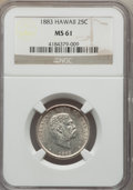 Coins of Hawaii: , 1883 25C Hawaii Quarter MS61 NGC. NGC Census: (62/844). PCGSPopulation (55/1136). Mintage: 500,000. ...