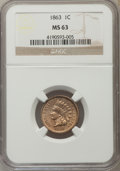 1863 1C MS63 NGC. NGC Census: (530/893). PCGS Population (918/1169). Mintage: 49,840,000. Numismedia Wsl. Price for prob...