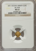 California Fractional Gold: , 1871 25C Liberty Round 25 Cents, BG-838, R.2, MS63 NGC. NGC Census:(15/5). PCGS Population (53/28). ...