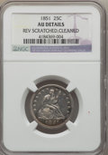 Seated Quarters, 1851 25C -- Cleaned, Reverse Scratched -- NGC Details. AU. NGC Census: (1/24). PCGS Population (2/31). Mintage: 160,000. Nu...