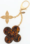 "Luxury Accessories:Accessories, Louis Vuitton Gold & Tortoise Shell Enamel Flower Keychain.Excellent Condition. 2.5"" Width x 6"" Length. ..."