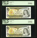 Canadian Currency: , BC-46b $1 1973, Four Consecutive Examples. ... (Total: 4 notes)