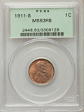 Lincoln Cents: , 1911-S 1C MS63 Red and Brown PCGS. PCGS Population (93/317). NGC Census: (38/176). Mintage: 4,026,000. Numismedia Wsl. Pric...