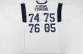 Football Collectibles:Uniforms, Fearsome Foursome Multi Signed Los Angeles Rams Jersey....
