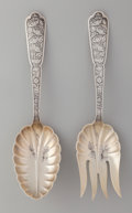Silver Flatware, American:Wood & Hughes, A Wood & Hughes Byzantine Pattern Silver Salad ServingSet, New York, New York, circa 1875. Marks: W&H,STERLI...