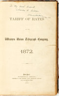 Books:Americana & American History, [American History]. Tariff of Rates of the Western UnionTelegraph Company, 1872. New York: Russell Bros., 1872....