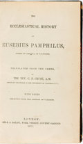 Books:Religion & Theology, Rev C. F. Cruse. The Ecclesiastical History of Eusebius Pamphilus... London: Bell & Daldy, 1870....