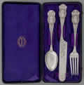 Silver Flatware, American, A Three Piece Peter Krider Medallion Pattern Coin SilverYouth Set in a Fitted Case, Philadelphia, Pennsylvania,... (Total:4 Items)