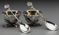Silver Holloware, American:Open Salts, A Pair of Gorham Bird's Nest Pattern Partial Gilt SilverOpen Salts with Spoons, Providence, Rhode Island, desig... (Total:5 )