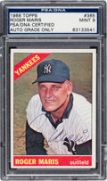 Autographs:Sports Cards, Signed 1966 Topps Roger Maris #365 PSA/DNA Mint 9....