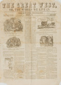 Books:Periodicals, [Illustrated Periodicals, Newspapers]. Single Issue of The GreatWest, or, the World We Live In. Vol. I, No. 2. 18...