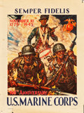 "Movie Posters:War, World War II Propaganda (McCandlish Litho, 1943). Poster (21"" X28"") 168th Anniversary U.S. Marine Corps ""Semper Fidelis."". ..."