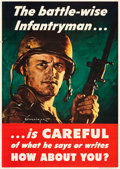 "Movie Posters:War, World War II Propaganda (U.S. Government Printing Office, 1944).Poster (28"" X 40"") ""The Battle-Wise Infantryman...Is Carefu..."