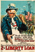 "Movie Posters:War, World War I Propaganda (U.S. Government Printing Office, 1917). 2ndLiberty Loan Poster (19.5"" X 29.75"") ""Shall We Be More T..."