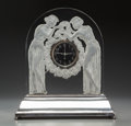 Art Glass:Lalique, R. Lalique Clear and Frosted Glass Deux Figurines Clock onIlluminated Base. Circa 1926.. M p. 371, No. 726. ...