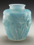 Art Glass:Lalique, R. Lalique Opalescent Glass Domremy Vase with Blue Patina.Circa 1926. Engraved R. Lalique, France . M p. ...