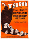 "Movie Posters:Mystery, The Terror (Warner Brothers, 1928). Trimmed Window Card (14"" X19"").. ..."