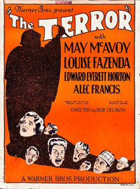 """The Terror (Warner Brothers, 1928). Trimmed Window Card (14"""" X 19"""")"""