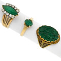 Estate Jewelry:Rings, Jadeite, Diamond, Emerald, Gold Rings. ...