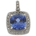 Estate Jewelry:Pendants and Lockets, Synthetic Sapphire, Diamond, White Gold Pendant. ...