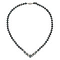Estate Jewelry:Necklaces, Cultured Black Pearl, Diamond, White Gold Necklace. ...