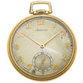 Timepieces:Pocket (post 1900), Hamilton 21 Jewel 14k Gold 12 Size Pocket Watch. ...