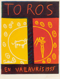 Post-War & Contemporary, After Pablo Picasso (Spanish, 1881-1973). Toros enVallauris, 1955. Linocut in colors. 25-1/2 x 20-1/4 inches(64.8 x 51...