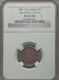 Colombia, Colombia: Republic Pattern 5 Centavos 1881 MS65 Red and BrownNGC,...