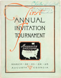 Golf Collectibles:Books/Magazines, 1934 First Masters Tournament Official Program Signed by FounderClifford Roberts. ...