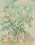 Texas:Early Texas Art - Impressionists, Dawson Dawson-Watson (British/American, 1864-1939). RedBarn. Watercolor and pencil on paper. 13-1/2 x 10-3/4 inches(34...